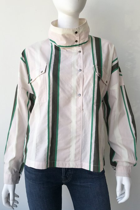 Closed Poe Striped Top - Peony