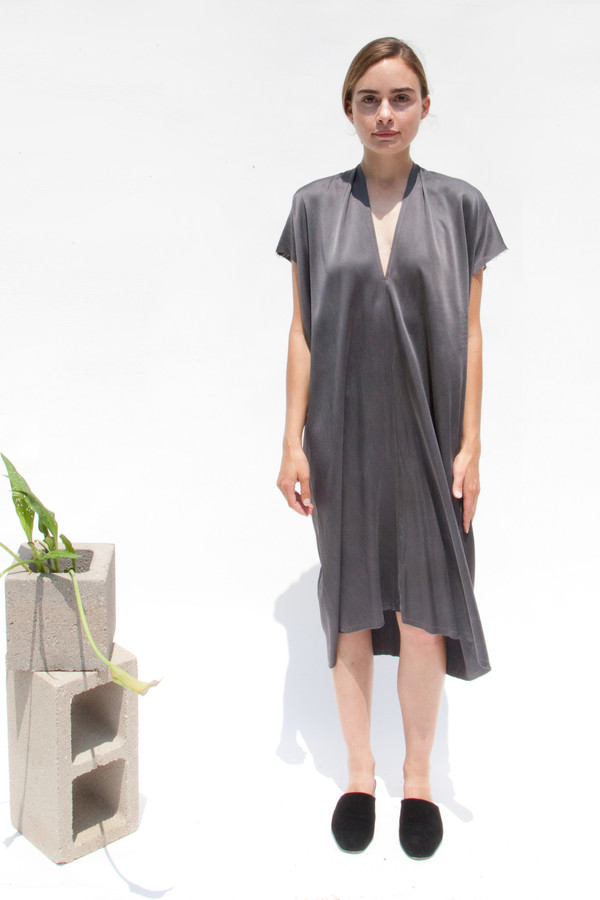 Miranda Bennett In-Stock: Everyday Dress, Silk Charmeuse in Slate