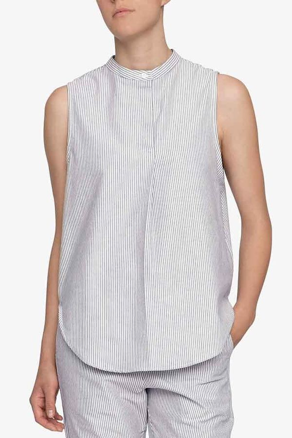 The Sleep Shirt Sleeveless Shirt Top Black Oxford Stripe