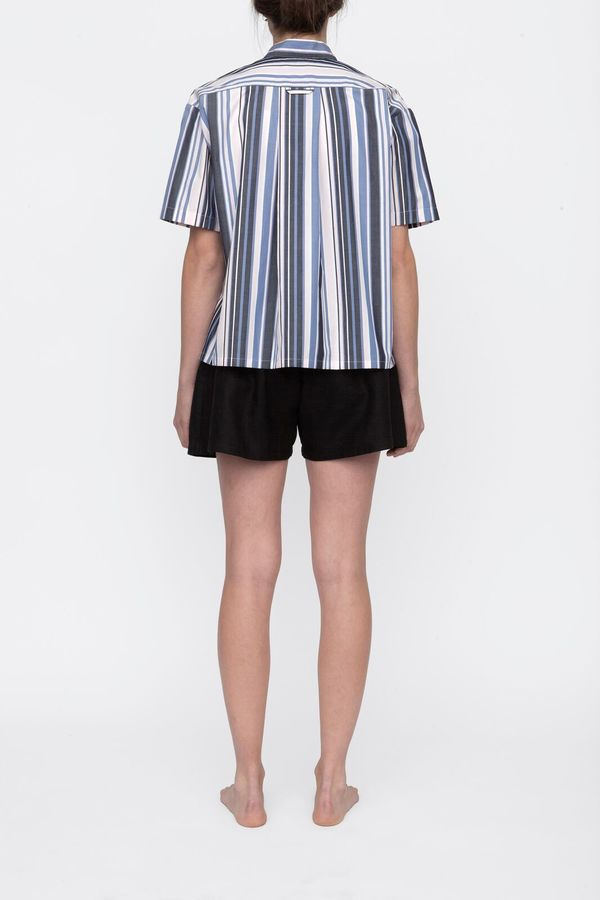 The Sleep Shirt Short Sleeve Cropped Sleep Shirt Blue and Pink Stripe