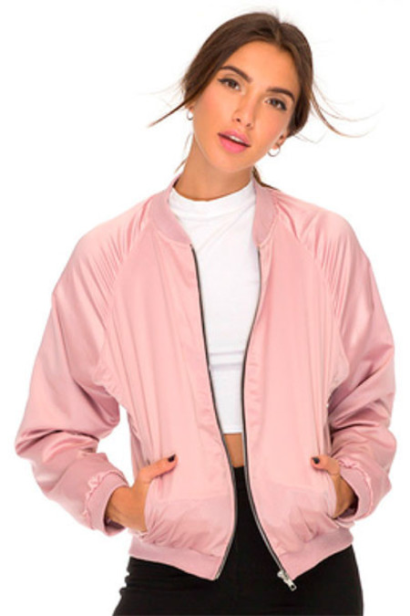 Motel Pink Ladies Satin Bomber