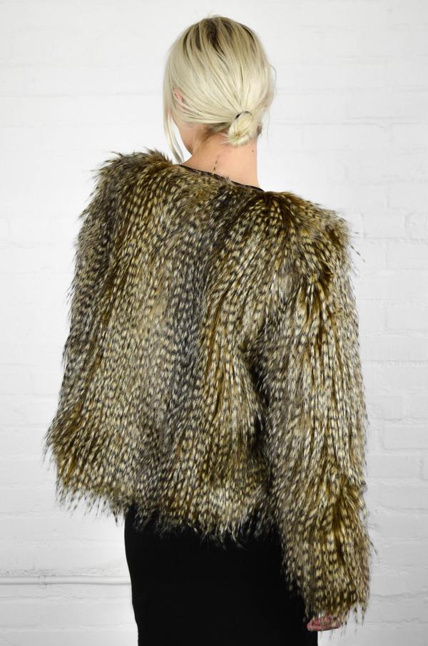 Capulet Faux Fur Jacket in Brown Peacock