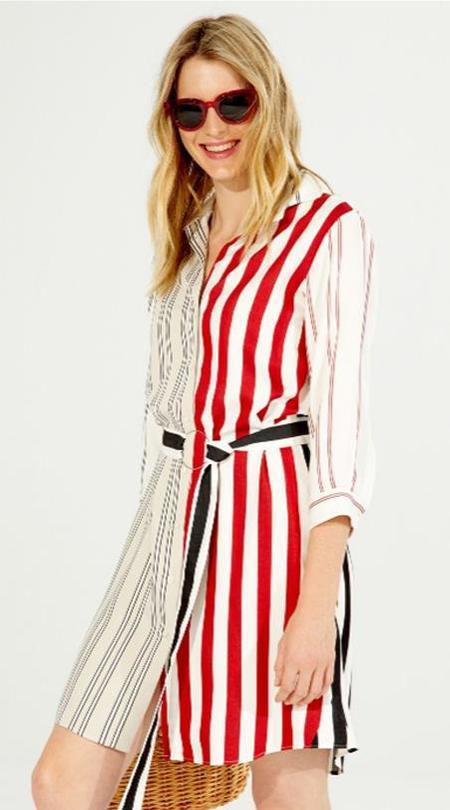 Vilagallo Dover Dress - Red/Black/Cream Stripes