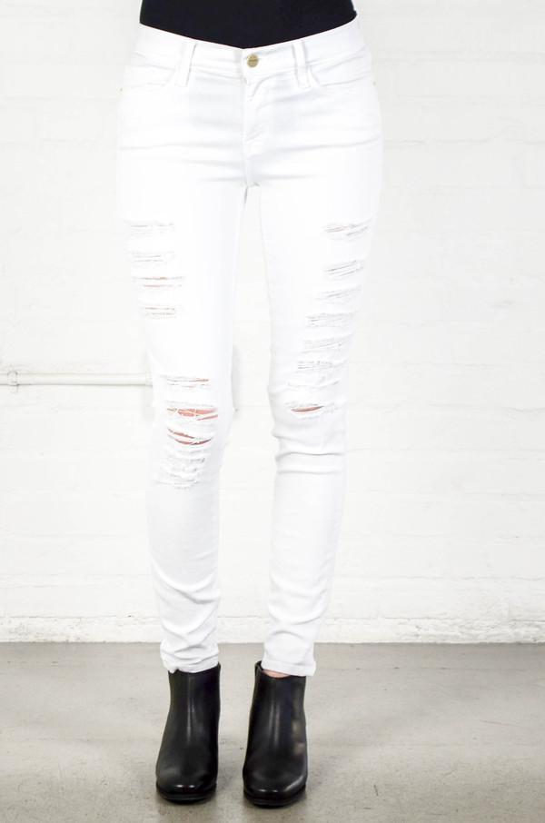 FRAME Denim Frame Le Color Ripped in Blanc