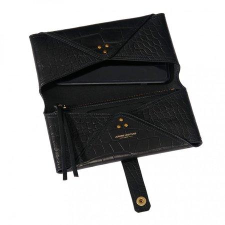 Jerome Dreyfuss Porte Mobile Envelope Wallet - Croco Noir
