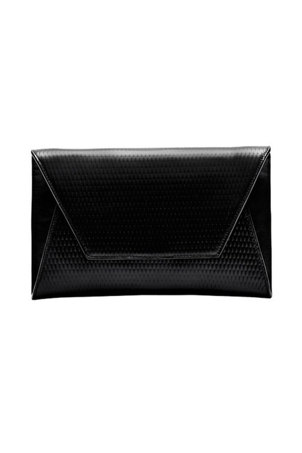 Flynn - Black Lattice Leather Fergie Clutch