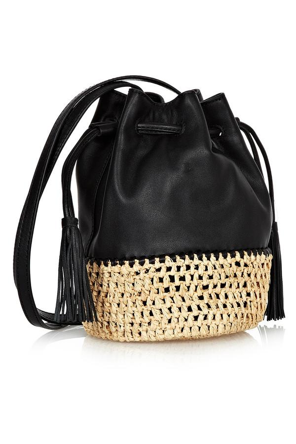 Loeffler Randall - Black Leather Bucket Bag With Woven Raffia