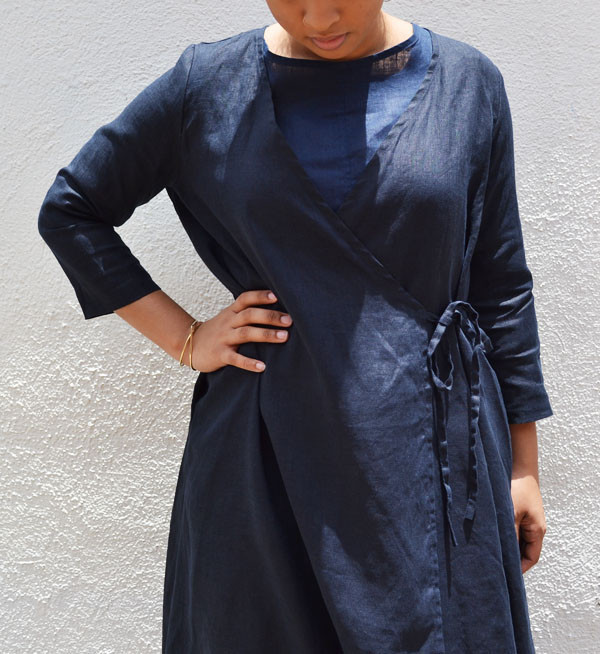 Fog Linen Black Nuit Chika Wrap Dress
