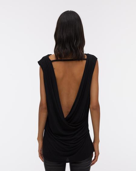 Helmut Lang Open Back Sleeveless Jersey Top - Black