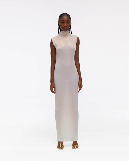 Helmut Lang Pleated Lurex Dress - Pearl