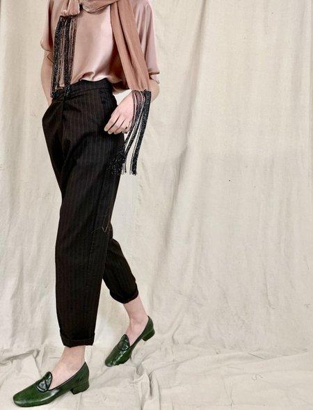 Anderst Chiara Fold Over PinStripe Wool Pant - Brown
