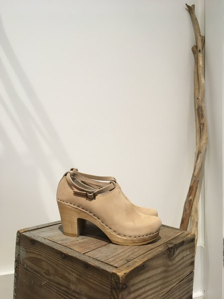 No. 6 Classic Strap Clog on High Heel - Bone