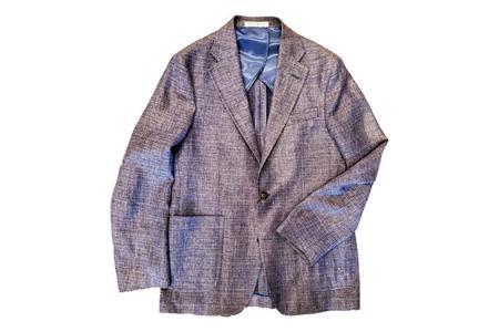 Strong Suit Vantage Texture Guabelle Wool Linen Blazer - Blue