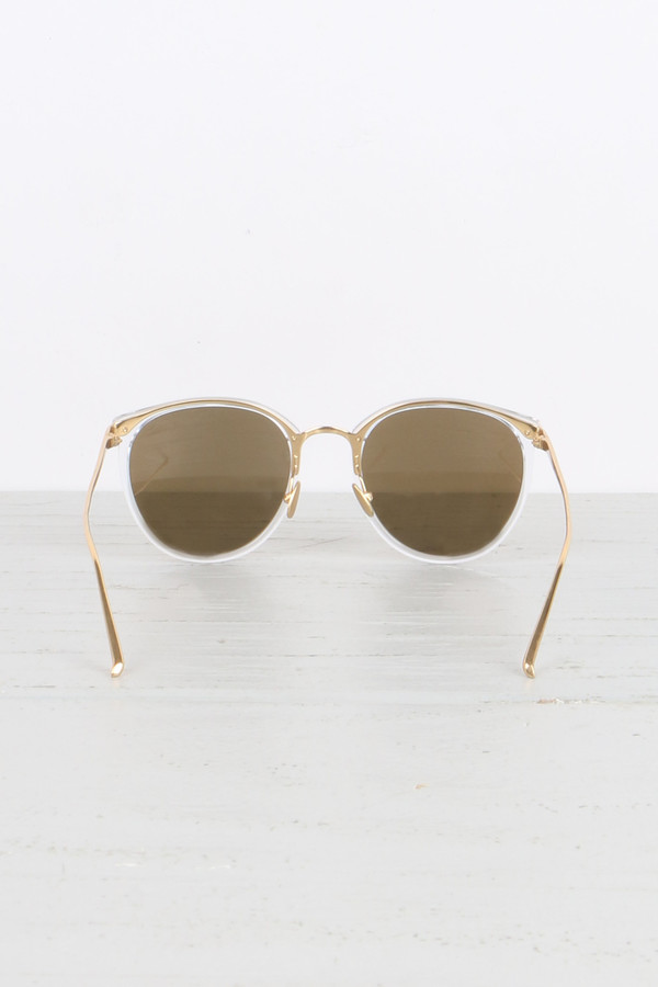Linda Farrow Oval Sunglasses in Clear