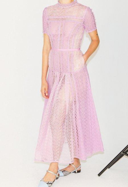 Self-Portrait Lace Panel Midi Dress - Lilac