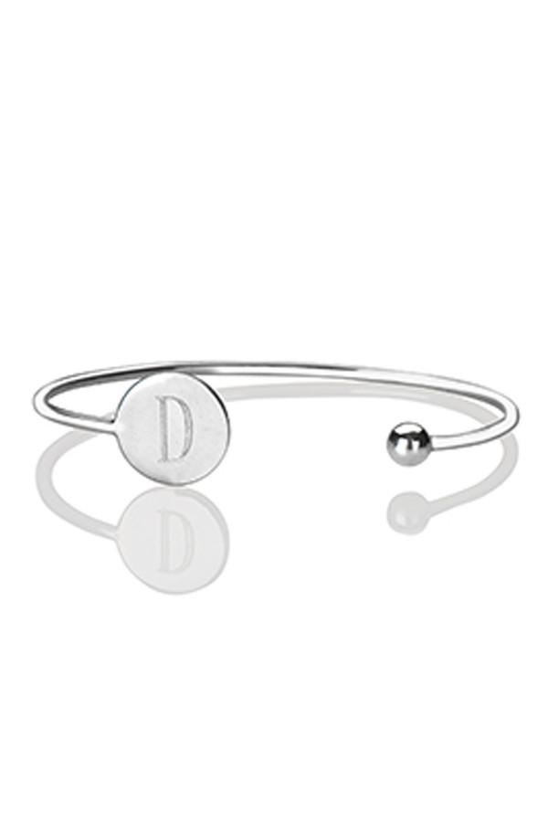 Letters By Zoe - Gold Letter Disc Cuff Bangle Bracelet