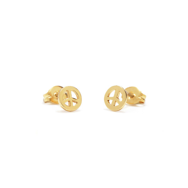 Bing Bang NYC Peace Studs - Yellow Gold or Silver