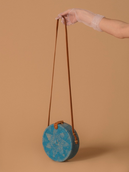 Folk Fortune Blue Rattan Bag, Sraw Bag, Bali Bag