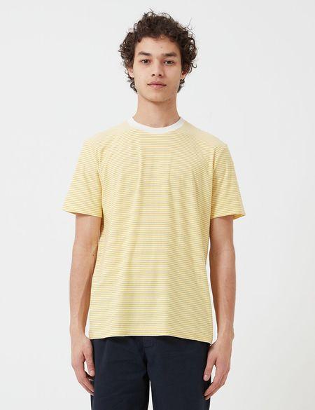 Folk Clothing Folk 1x1 Stripe T-Shirt - Light Gold/Ecru