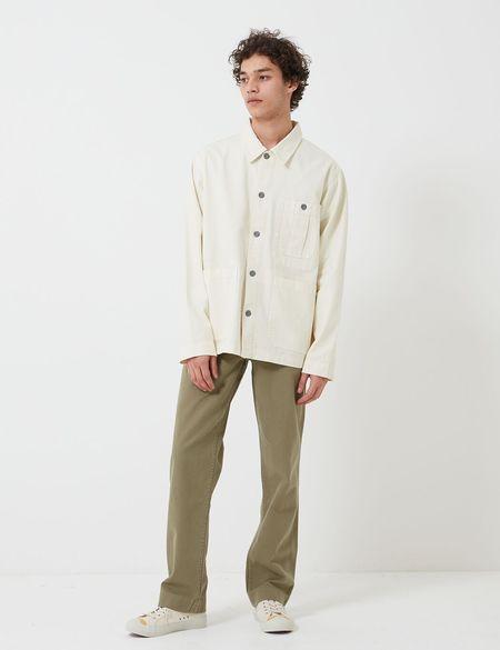 Nigel Cabourn British Army Cotton Herringbone Jacket - Chalk White