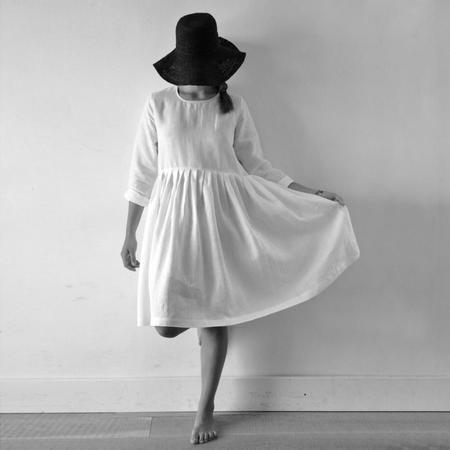 Le Vestiare de Jeanne Long Sleeved Dress - White Linen