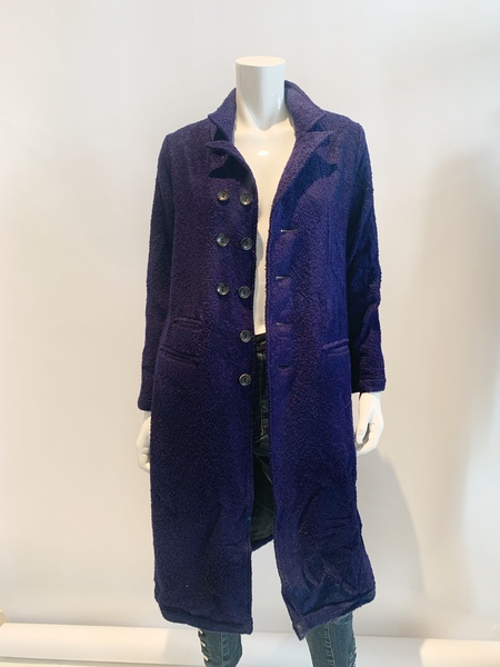 Umit Unal wool boucle button front coat - navy blue