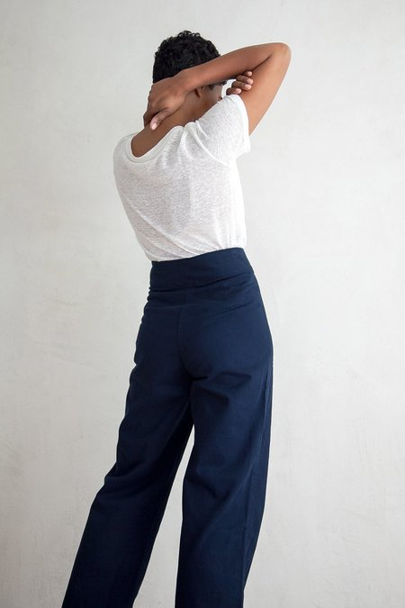 Ali Golden COTTON FLY FRONT PANT - NAVY