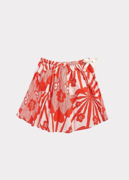 Kids Caramel Norton Skirt - Red Flower Print