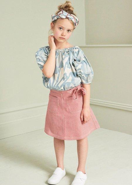 Kids Caramel Queens Park Blouse - Blue Flower Print