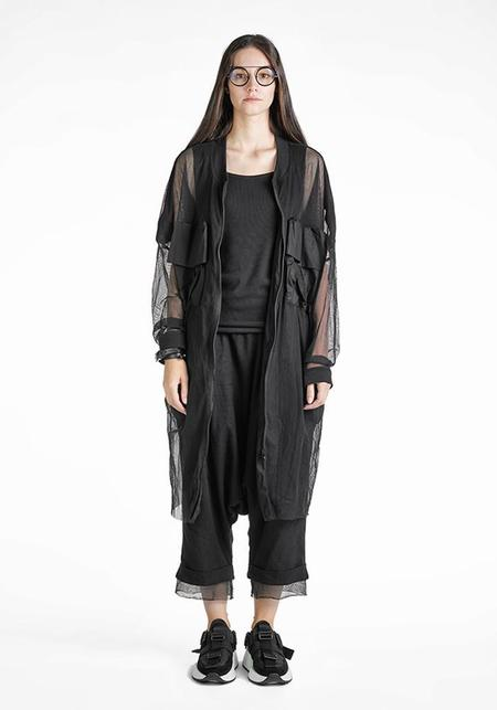 Studio B3 Pellan Black Cotton Mesh Parka Coat - Black