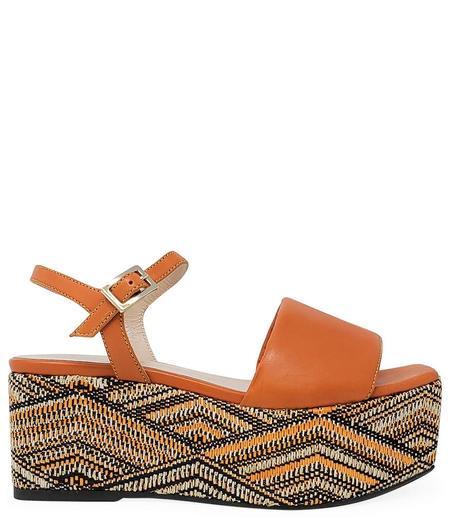 Madison Maison Woven Leather Wedge - Orange