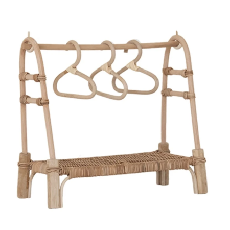 kids Olli Ella Rattan Doll Clothing Rail Rack - brown