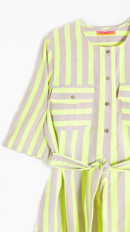 Vilagallo Sabine Dress - Lime Fluor Stripes