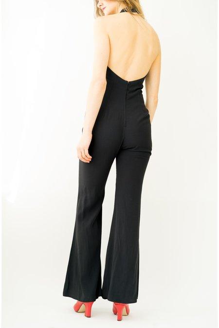 vintage Backtalk PDX Halter Jumpsuit - black