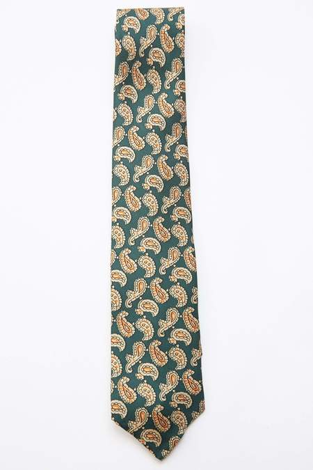 Beams Plus Paisley Print Silk Tie - GREEN