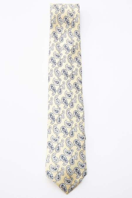 Beams Plus Paisley Print Silk Tie - YELLOW