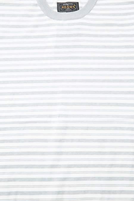 Beams Plus Short Sleeve Knit Border top - GREY