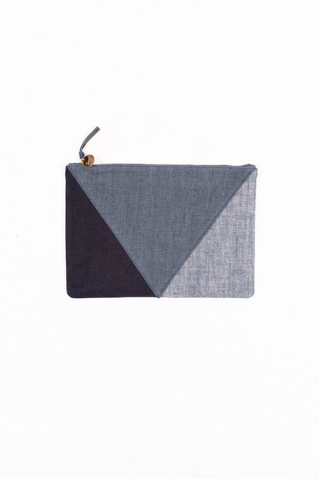 Clare V. Denim Patchwork V Flat Clutch