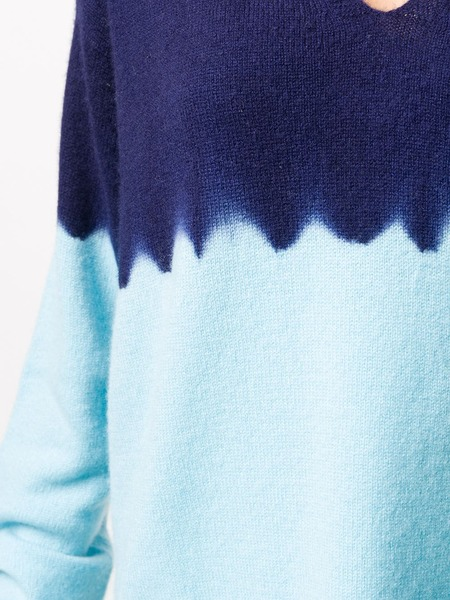 Suzusan cashmere hand dyed color block sweater - navy turquoise