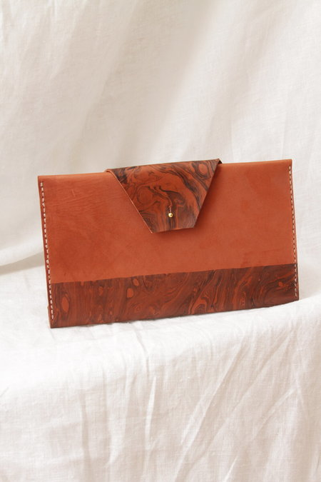 Molly Virginia Made Marbled Clutch - Dark Rosewood