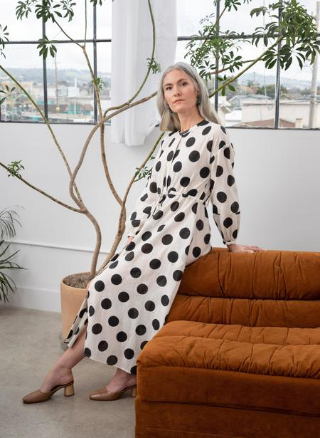 Seek Collective Julia Dress - White Polka Dot