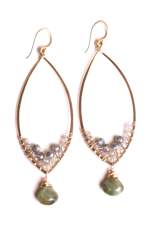 James and Jezebelle Labradorite Hoops with Cat Eeye Opal