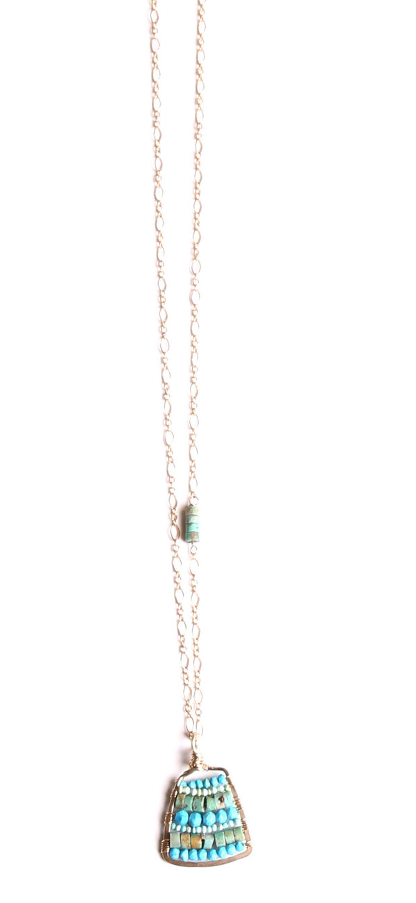 James and Jezebelle Turquoise Small Paddle Necklace