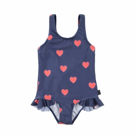 Kids Tinycottons Hearts Frills Swimsuit - Light NavyLight Red