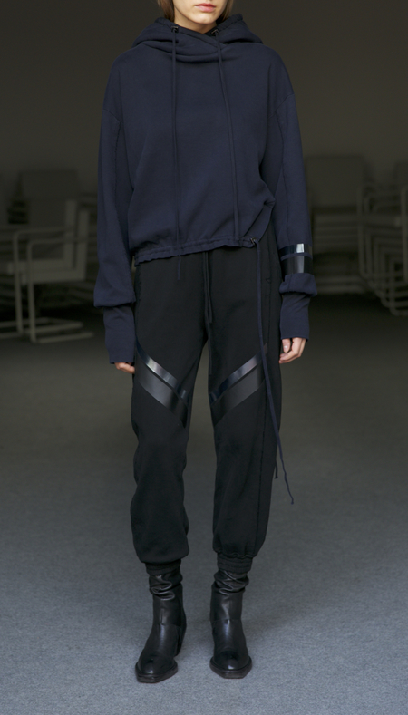 Ilaria Nistri jogger sweatpant cuffed hem with metallic tape - black