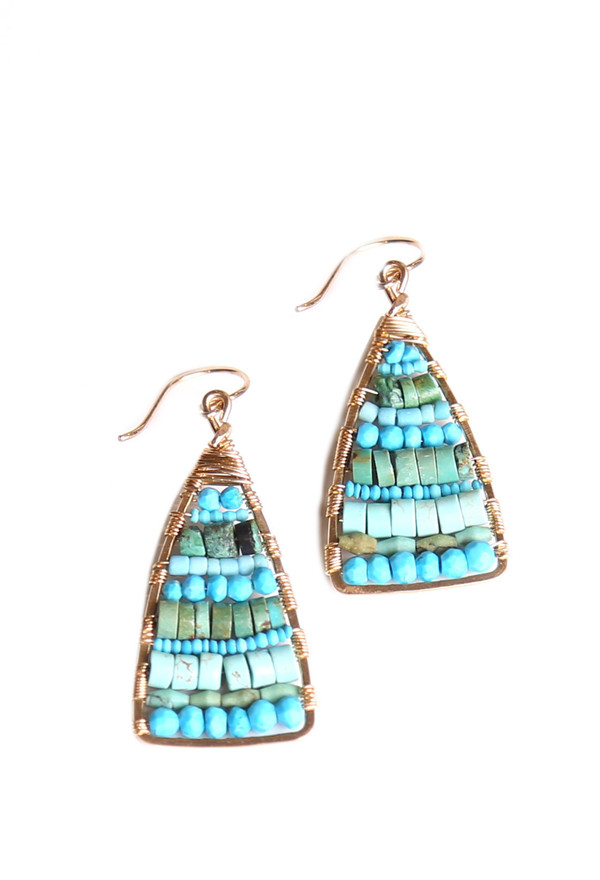 James and Jezebelle Turquoise Triangle Paddle Earring