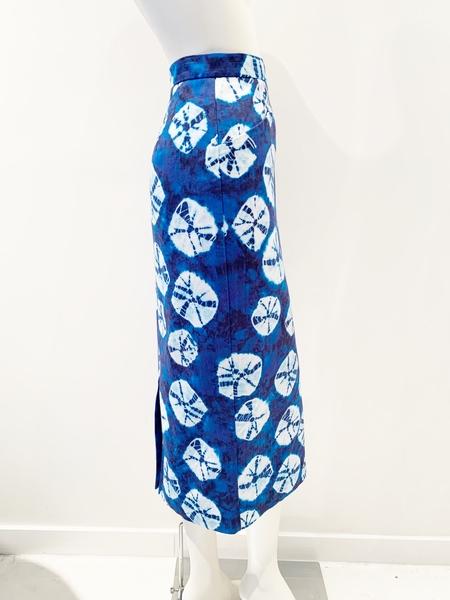 Stella Jean blue tie dye print pencil skirt