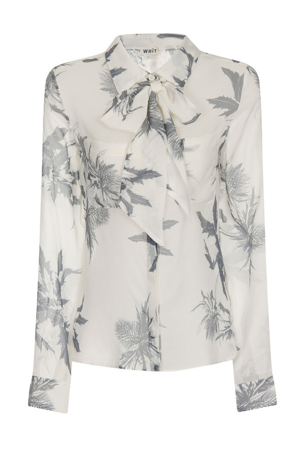WHiT - Thistle Print Jagger Tie-Neck Blouse