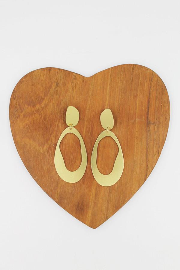 Modern Weaving Brass Large Oval Loop Earrings