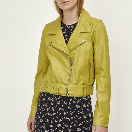 Just Female Mina Leather Jacket - Amber Green